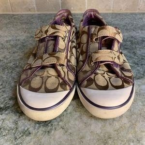 Coach Sneakers Sz 7 Purple Tan Velcro